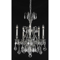 Elegant Lighting Monarch 5 Light Dining Chandelier in Pewter with Elegant Cut Clear Crystal 9605D21PW/EC
