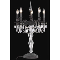 Elegant Lighting Monarch 5 Light Table Lamp in Dark Bronze with Royal Cut Clear Crystal 9605TL18DB/RC