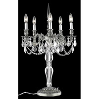 Elegant Lighting Monarch 5 Light Table Lamp in Pewter with Royal Cut Clear Crystal 9605TL18PW/RC
