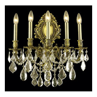 Elegant Lighting Monarch 5 Light Wall Sconce in Antique Bronze with Royal Cut Golden Shadow Crystal 9605W21AB-GS/RC