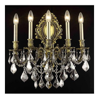 Elegant Lighting Monarch 5 Light Wall Sconce in Antique Bronze with Royal Cut Silver Shade Crystal 9605W21AB-SS/RC