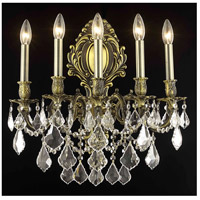 Elegant Lighting Monarch 5 Light Wall Sconce in Antique Bronze with Royal Cut Clear Crystal 9605W21AB/RC