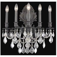 Elegant Lighting Monarch 5 Light Wall Sconce in Dark Bronze with Elegant Cut Clear Crystal 9605W21DB/EC