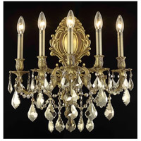 Elegant Lighting Monarch 5 Light Wall Sconce in French Gold with Royal Cut Golden Teak Crystal 9605W21FG-GT/RC
