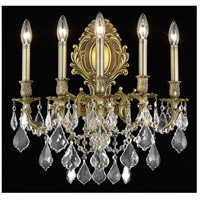 Elegant Lighting Monarch 5 Light Wall Sconce in French Gold with Swarovski Strass Clear Crystal 9605W21FG/SS photo thumbnail