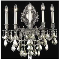 Elegant Lighting Monarch 5 Light Wall Sconce in Pewter with Royal Cut Golden Teak Crystal 9605W21PW-GT/RC