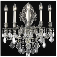 Elegant Lighting Monarch 5 Light Wall Sconce in Pewter with Royal Cut Clear Crystal 9605W21PW/RC