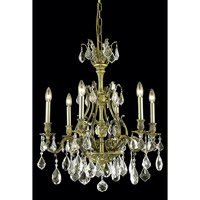 Elegant Lighting Monarch 6 Light Dining Chandelier in Antique Bronze with Royal Cut Golden Shadow Crystal 9606D24AB-GS/RC