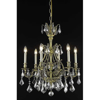 Elegant Lighting Monarch 6 Light Dining Chandelier in Antique Bronze with Royal Cut Silver Shade Crystal 9606D24AB-SS/RC