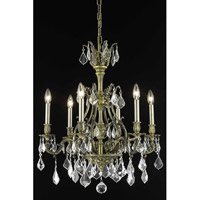 Elegant Lighting Monarch 6 Light Dining Chandelier in Antique Bronze with Royal Cut Clear Crystal 9606D24AB/RC