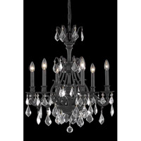 Elegant Lighting Monarch 6 Light Dining Chandelier in Dark Bronze with Elegant Cut Clear Crystal 9606D24DB/EC