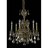 Elegant Lighting Monarch 6 Light Dining Chandelier in French Gold with Swarovski Strass Golden Teak Crystal 9606D24FG-GT/SS