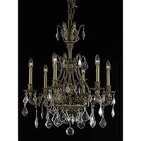 Elegant Lighting Monarch 6 Light Dining Chandelier in French Gold with Royal Cut Clear Crystal 9606D24FG/RC