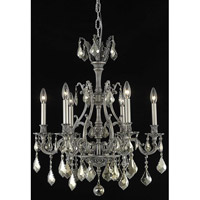 Elegant Lighting Monarch 6 Light Dining Chandelier in Pewter with Royal Cut Golden Teak Crystal 9606D24PW-GT/RC
