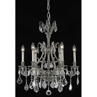 Elegant Lighting Monarch 6 Light Dining Chandelier in Pewter with Elegant Cut Clear Crystal 9606D24PW/EC