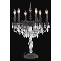 Elegant Lighting Monarch 6 Light Table Lamp in Dark Bronze with Royal Cut Clear Crystal 9606TL20DB/RC