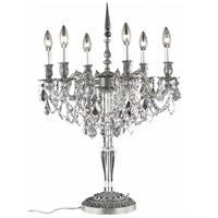 Elegant Lighting Monarch 6 Light Table Lamp in Pewter with Spectra Swarovski Clear Crystal 9606TL20PW/SA alternative photo thumbnail