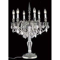 Elegant Lighting Monarch 6 Light Table Lamp in Pewter with Elegant Cut Clear Crystal 9606TL20PW/EC
