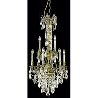 Elegant Lighting Monarch 9 Light Dining Chandelier in Antique Bronze with Royal Cut Golden Shadow Crystal 9609D21AB-GS/RC