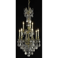 Elegant Lighting Monarch 9 Light Dining Chandelier in Antique Bronze with Royal Cut Silver Shade Crystal 9609D21AB-SS/RC
