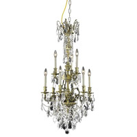 Elegant Lighting Monarch 9 Light Dining Chandelier in Antique Bronze with Elegant Cut Clear Crystal 9609D21AB/EC