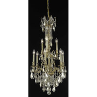 Elegant Lighting Monarch 9 Light Dining Chandelier in French Gold with Swarovski Strass Golden Teak Crystal 9609D21FG-GT/SS