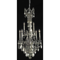Elegant Lighting Monarch 9 Light Dining Chandelier in Pewter with Swarovski Strass Golden Teak Crystal 9609D21PW-GT/SS