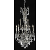 Elegant Lighting Monarch 9 Light Dining Chandelier in Pewter with Elegant Cut Clear Crystal 9609D21PW/EC