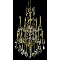 Elegant Lighting Monarch 10 Light Dining Chandelier in Antique Bronze with Royal Cut Golden Shadow Crystal 9610D26AB-GS/RC