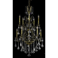Elegant Lighting Monarch 10 Light Dining Chandelier in Antique Bronze with Royal Cut Silver Shade Crystal 9610D26AB-SS/RC