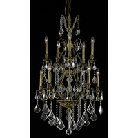 Elegant Lighting Monarch 10 Light Dining Chandelier in Antique Bronze with Elegant Cut Clear Crystal 9610D26AB/EC