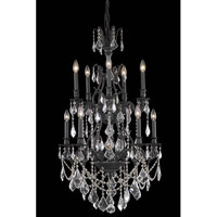 Elegant Lighting Monarch 10 Light Dining Chandelier in Dark Bronze with Royal Cut Clear Crystal 9610D26DB/RC