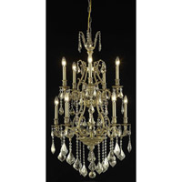 Elegant Lighting Monarch 10 Light Dining Chandelier in French Gold with Swarovski Strass Golden Teak Crystal 9610D26FG-GT/SS
