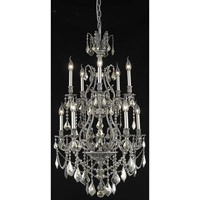 Elegant Lighting Monarch 10 Light Dining Chandelier in Pewter with Swarovski Strass Golden Teak Crystal 9610D26PW-GT/SS