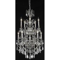 Elegant Lighting Monarch 10 Light Dining Chandelier in Pewter with Elegant Cut Clear Crystal 9610D26PW/EC