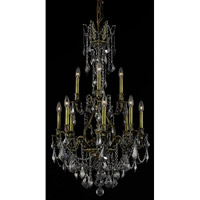Elegant Lighting Monarch 12 Light Dining Chandelier in Antique Bronze with Royal Cut Silver Shade Crystal 9612D25AB-SS/RC