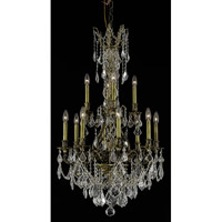 Elegant Lighting Monarch 12 Light Dining Chandelier in Antique Bronze with Royal Cut Clear Crystal 9612D25AB/RC