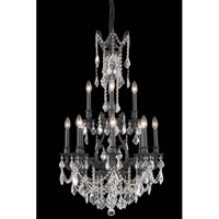 Elegant Lighting Monarch 12 Light Dining Chandelier in Dark Bronze with Elegant Cut Clear Crystal 9612D25DB/EC