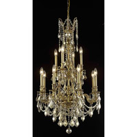 Elegant Lighting Monarch 12 Light Dining Chandelier in French Gold with Swarovski Strass Golden Teak Crystal 9612D25FG-GT/SS