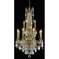 Elegant Lighting Monarch 12 Light Dining Chandelier in French Gold with Elegant Cut Clear Crystal 9612D25FG/EC