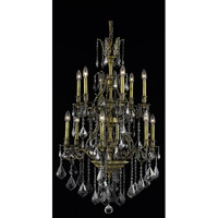 Elegant Lighting Monarch 12 Light Dining Chandelier in Antique Bronze with Royal Cut Silver Shade Crystal 9612D27AB-SS/RC