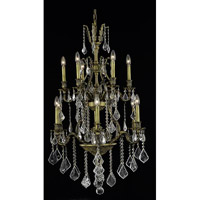 Elegant Lighting Monarch 12 Light Dining Chandelier in Antique Bronze with Elegant Cut Clear Crystal 9612D27AB/EC