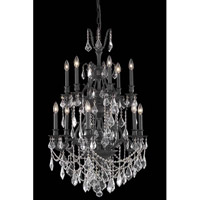 Elegant Lighting Monarch 12 Light Dining Chandelier in Dark Bronze with Royal Cut Clear Crystal 9612D27DB/RC