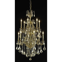 Elegant Lighting Monarch 12 Light Dining Chandelier in French Gold with Swarovski Strass Golden Teak Crystal 9612D27FG-GT/SS