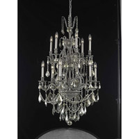 Elegant Lighting Monarch 12 Light Dining Chandelier in Pewter with Swarovski Strass Golden Teak Crystal 9612D27PW-GT/SS