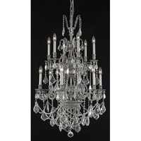 Elegant Lighting Monarch 12 Light Dining Chandelier in Pewter with Elegant Cut Clear Crystal 9612D27PW/EC