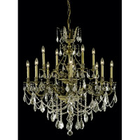 Elegant Lighting Monarch 12 Light Dining Chandelier in Antique Bronze with Swarovski Strass Golden Shadow Crystal 9612D35AB-GS/SS