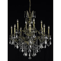 Elegant Lighting Monarch 12 Light Dining Chandelier in Antique Bronze with Royal Cut Silver Shade Crystal 9612D35AB-SS/RC
