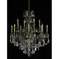 Elegant Lighting Monarch 12 Light Dining Chandelier in Antique Bronze with Elegant Cut Clear Crystal 9612D35AB/EC