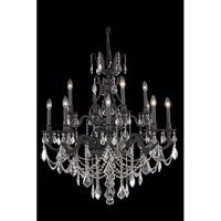 Elegant Lighting Monarch 12 Light Dining Chandelier in Dark Bronze with Elegant Cut Clear Crystal 9612D35DB/EC
